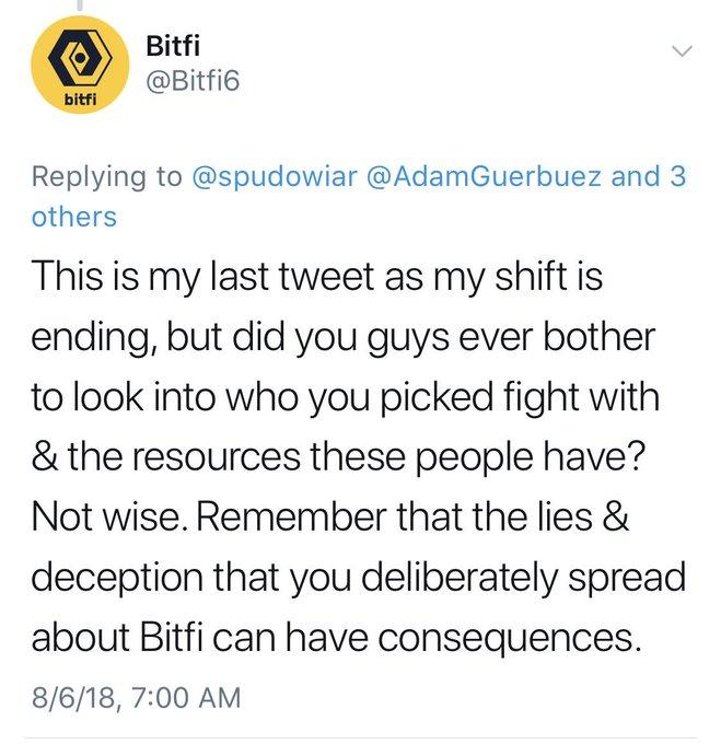 Bitfi threaten researchers