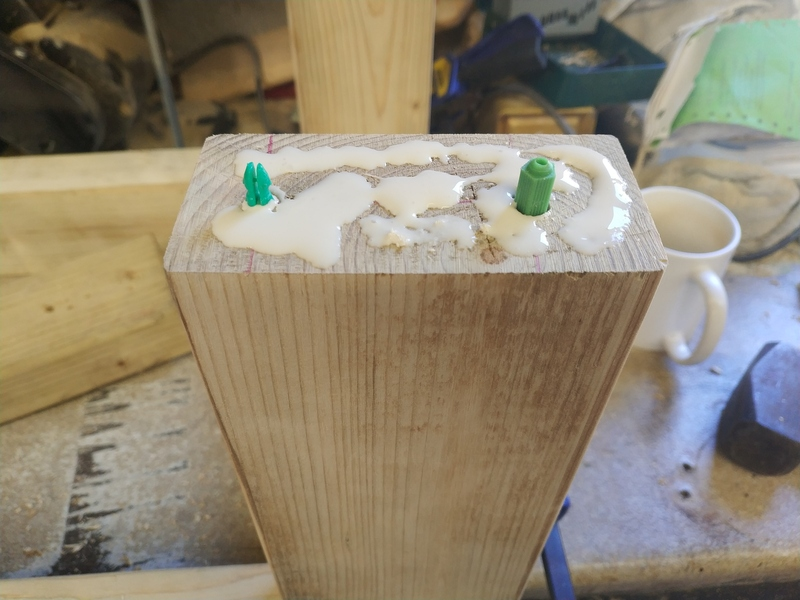 Filling holes and spaffing glue