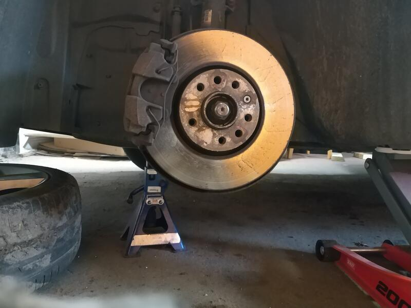 Saab 93 on stands with wheel removed