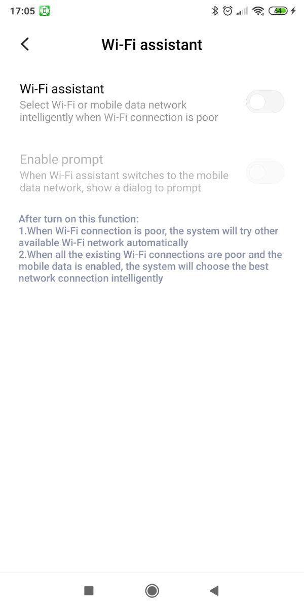 Wifi Assistant settings in MIUI