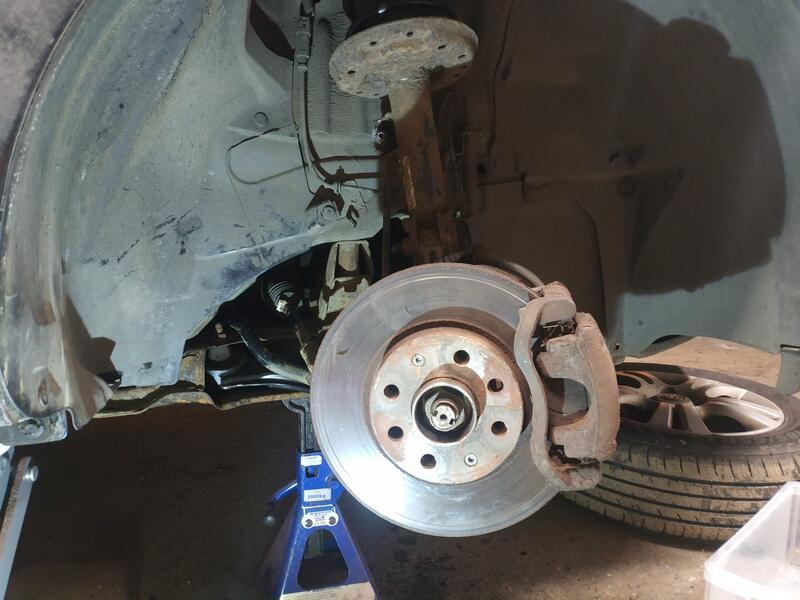 Vauxhall Corsa D with wheel removed